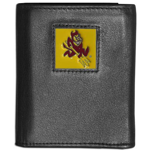 Arizona St. Sun Devils Deluxe Leather Tri-fold Wallet Packaged in Gift Box