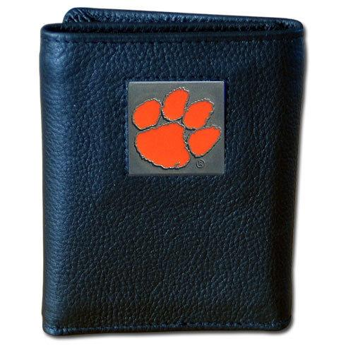 Clemson Tigers Deluxe Leather Tri-fold Wallet Packaged in Gift Box