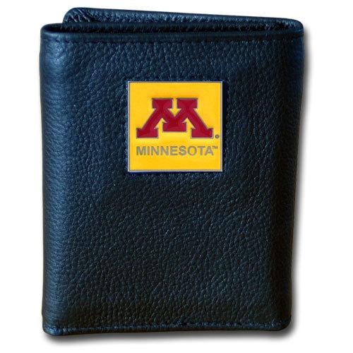 Minnesota Golden Gophers Deluxe Leather Tri-fold Wallet Packaged in Gift Box
