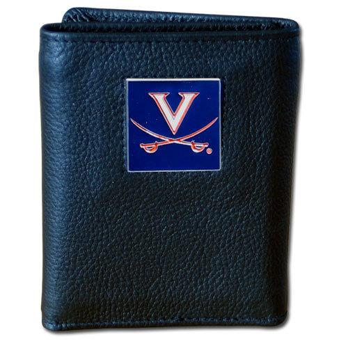 Virginia Cavaliers Deluxe Leather Tri-fold Wallet Packaged in Gift Box