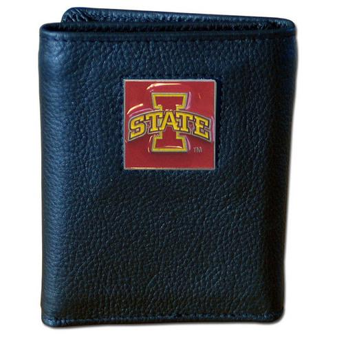 Iowa St. Cyclones Deluxe Leather Tri-fold Wallet Packaged in Gift Box