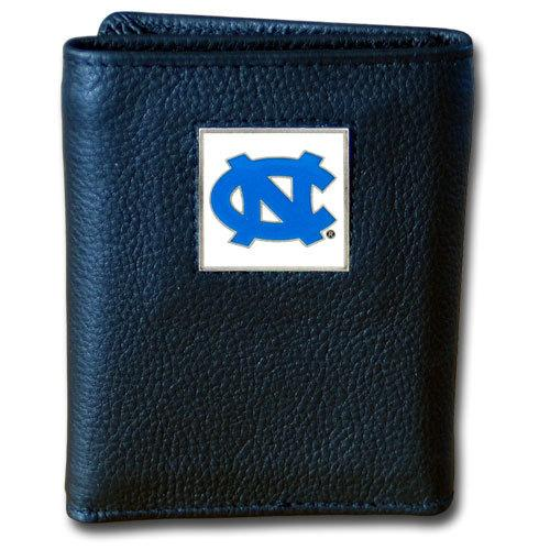 N. Carolina Tar Heels Deluxe Leather Tri-fold Wallet Packaged in Gift Box