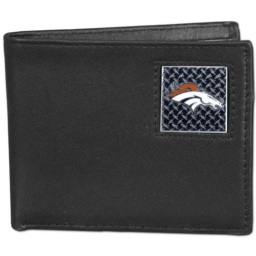 Denver Broncos Gridiron Leather Bi-fold Wallet Packaged in Gift Box