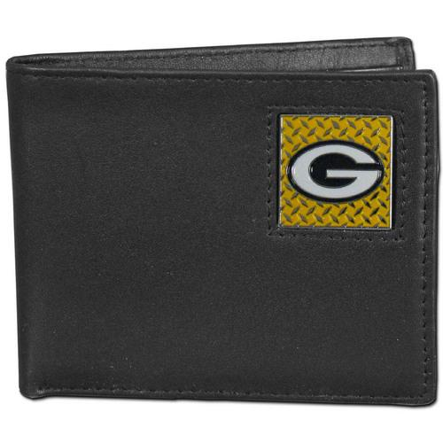Green Bay Packers Gridiron Leather Bi-fold Wallet Packaged in Gift Box