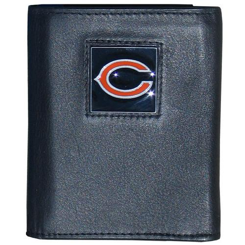 Chicago Bears Deluxe Leather Tri-fold Wallet Packaged in Gift Box