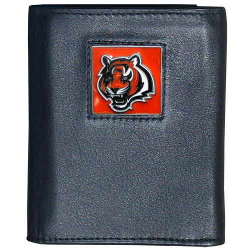 Cincinnati Bengals Deluxe Leather Tri-fold Wallet Packaged in Gift Box