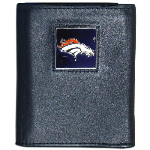 Denver Broncos Deluxe Leather Tri-fold Wallet Packaged in Gift Box