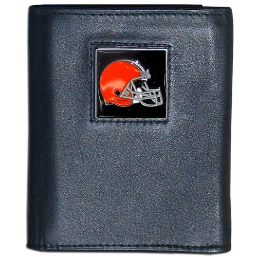Cleveland Browns Deluxe Leather Tri-fold Wallet Packaged in Gift Box