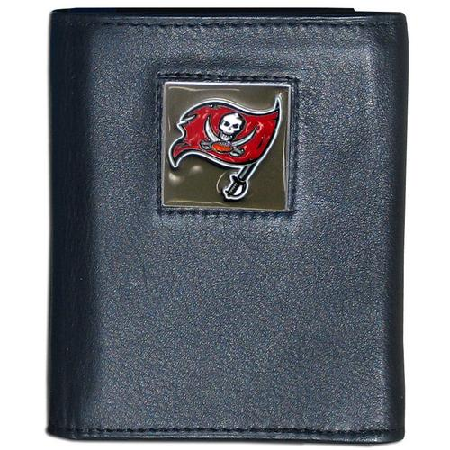 Tampa Bay Buccaneers Deluxe Leather Tri-fold Wallet Packaged in Gift Box