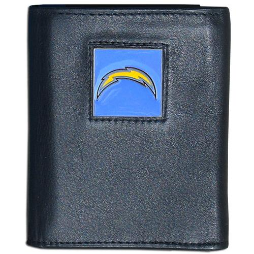 Los Angeles Chargers Deluxe Leather Tri-fold Wallet Packaged in Gift Box