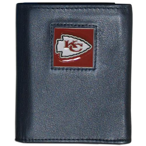 Kansas City Chiefs Deluxe Leather Tri-fold Wallet Packaged in Gift Box