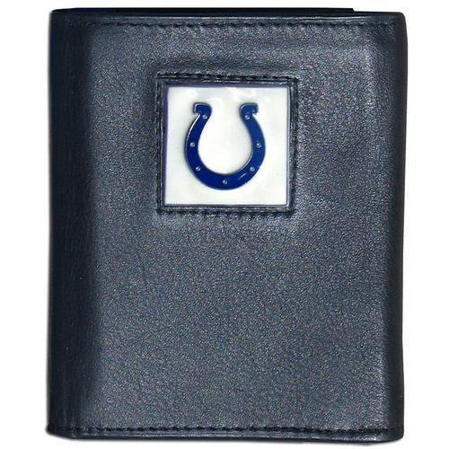 Indianapolis Colts Deluxe Leather Tri-fold Wallet Packaged in Gift Box