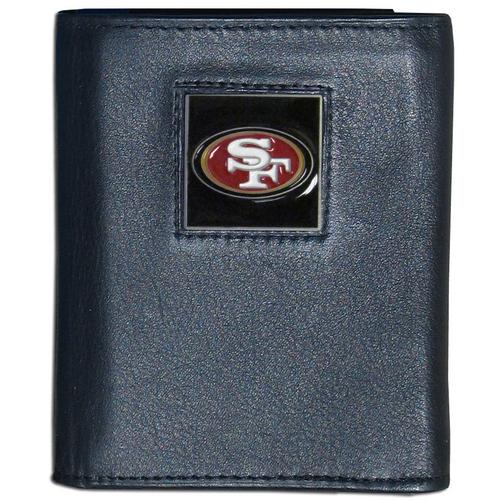 San Francisco 49ers Deluxe Leather Tri-fold Wallet Packaged in Gift Box