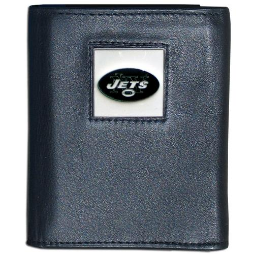 New York Jets Deluxe Leather Tri-fold Wallet Packaged in Gift Box