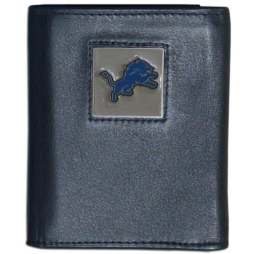 Detroit Lions Deluxe Leather Tri-fold Wallet Packaged in Gift Box