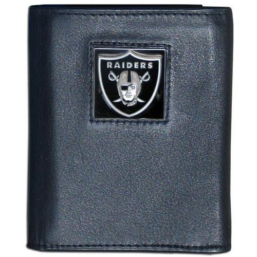 Oakland Raiders Deluxe Leather Tri-fold Wallet Packaged in Gift Box
