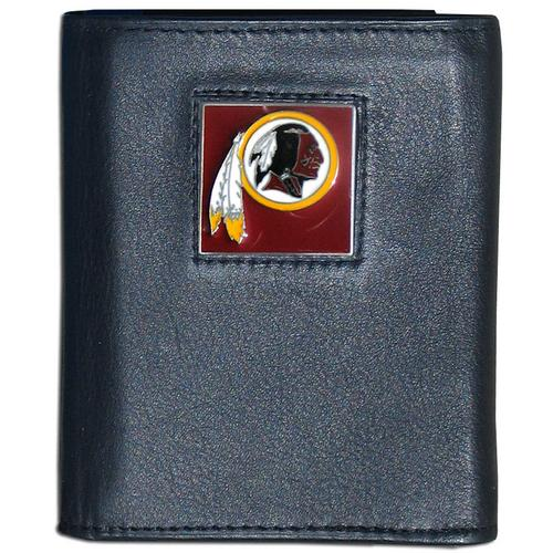 Washington Redskins Deluxe Leather Tri-fold Wallet Packaged in Gift Box