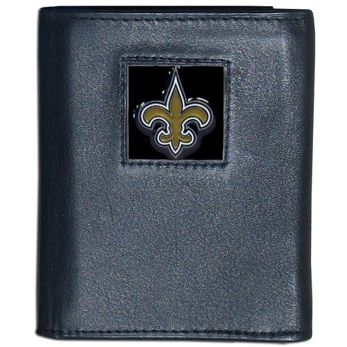 New Orleans Saints Deluxe Leather Tri-fold Wallet Packaged in Gift Box