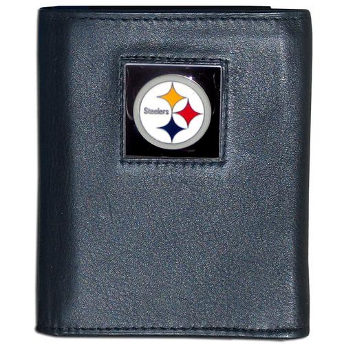 Pittsburgh Steelers Deluxe Leather Tri-fold Wallet Packaged in Gift Box