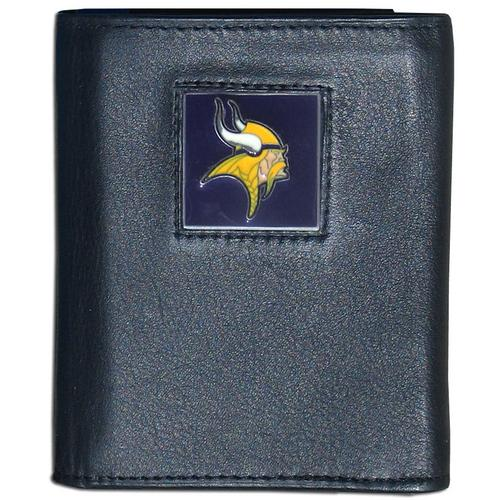 Minnesota Vikings Deluxe Leather Tri-fold Wallet Packaged in Gift Box