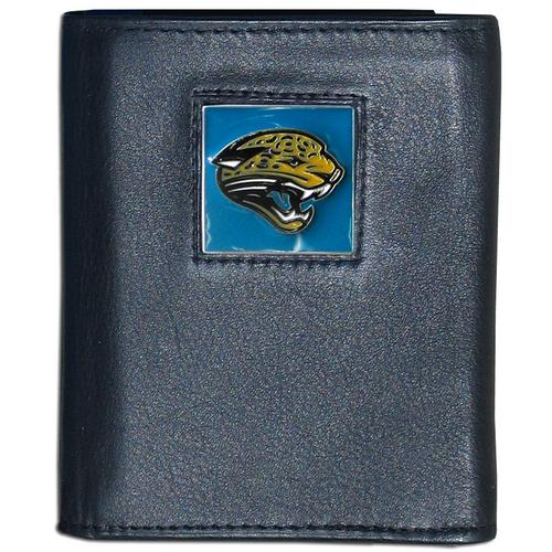 Jacksonville Jaguars Deluxe Leather Tri-fold Wallet Packaged in Gift Box