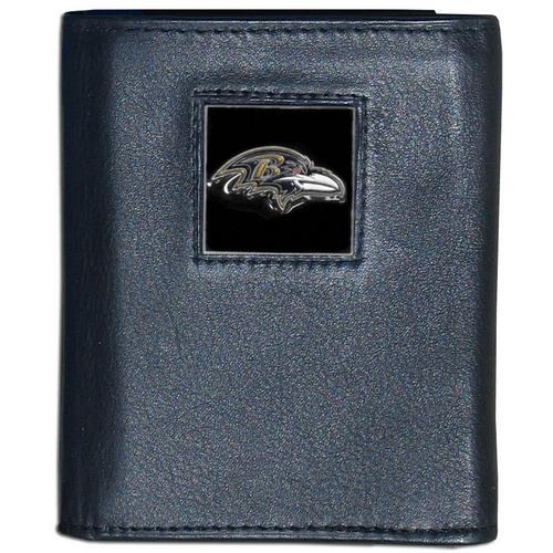Baltimore Ravens Deluxe Leather Tri-fold Wallet Packaged in Gift Box