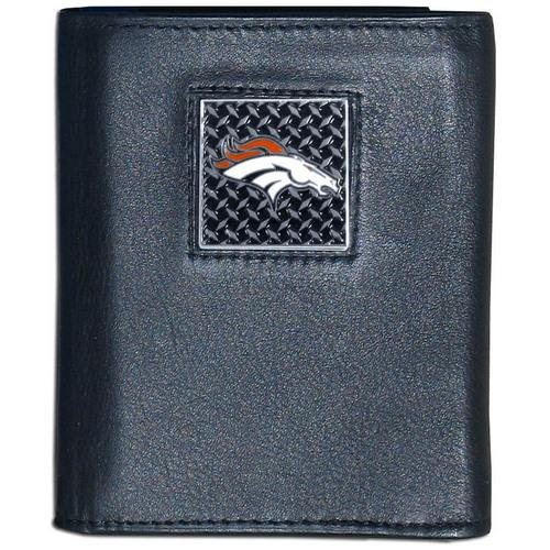 Denver Broncos Gridiron Leather Tri-fold Wallet Packaged in Gift Box