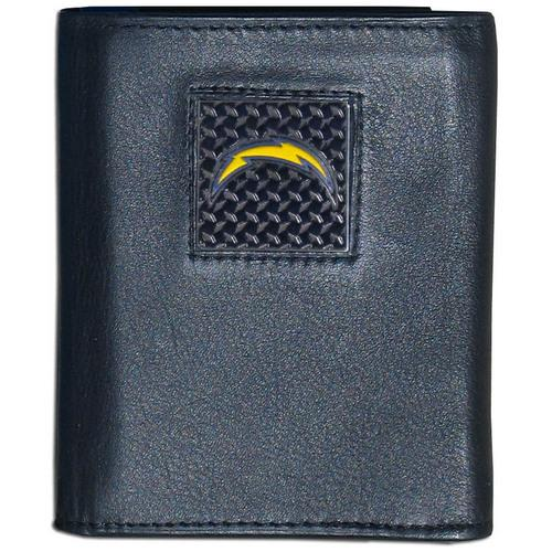 Los Angeles Chargers Gridiron Leather Tri-fold Wallet Packaged in Gift Box