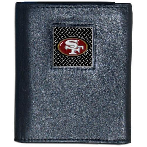 San Francisco 49ers Gridiron Leather Tri-fold Wallet Packaged in Gift Box