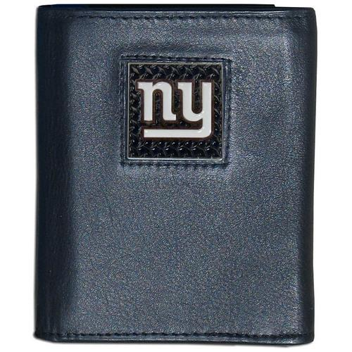 New York Giants Gridiron Leather Tri-fold Wallet Packaged in Gift Box