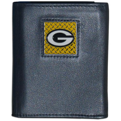 Green Bay Packers Gridiron Leather Tri-fold Wallet Packaged in Gift Box