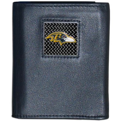 Baltimore Ravens Gridiron Leather Tri-fold Wallet Packaged in Gift Box