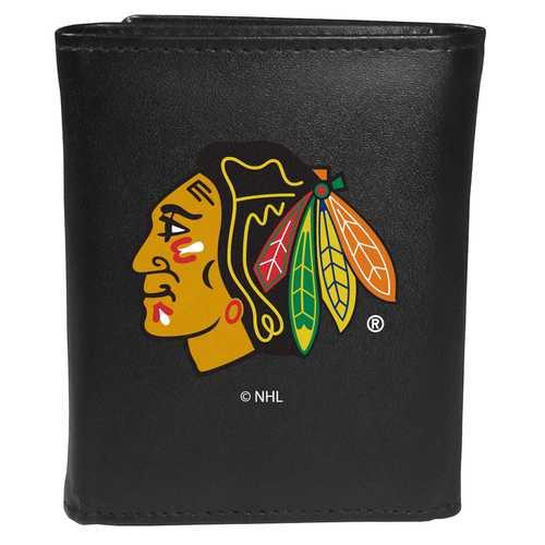 Chicago Blackhawks® Leather Tri-fold Wallet, Large Logo