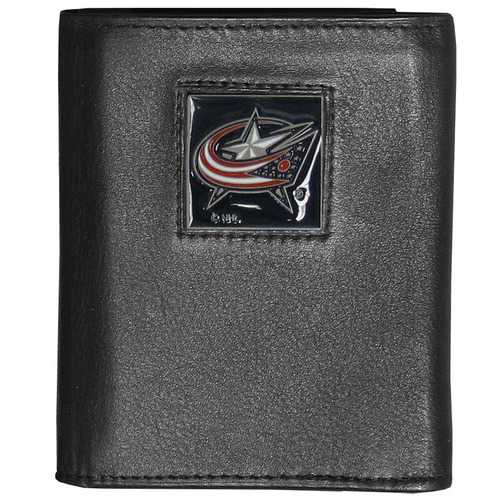 Columbus Blue Jackets® Deluxe Leather Tri-fold Wallet Packaged in Gift Box
