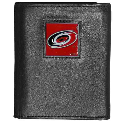 Carolina Hurricanes® Deluxe Leather Tri-fold Wallet Packaged in Gift Box