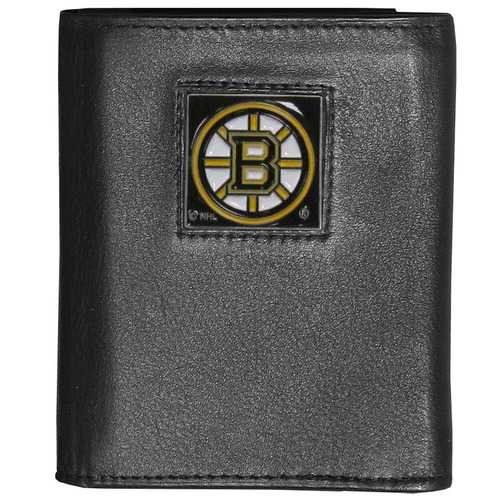 Boston Bruins® Deluxe Leather Tri-fold Wallet Packaged in Gift Box