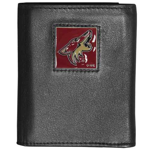 Arizona Coyotes® Deluxe Leather Tri-fold Wallet Packaged in Gift Box