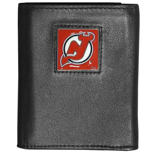 New Jersey Devils® Deluxe Leather Tri-fold Wallet Packaged in Gift Box