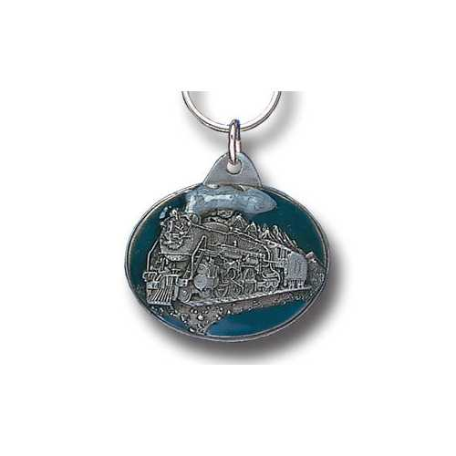 Steam Locomotive Metal Key Chain with Enameled Details
