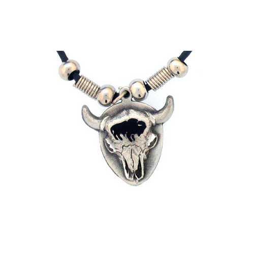 Bison Skull Adjustable Cord Necklace
