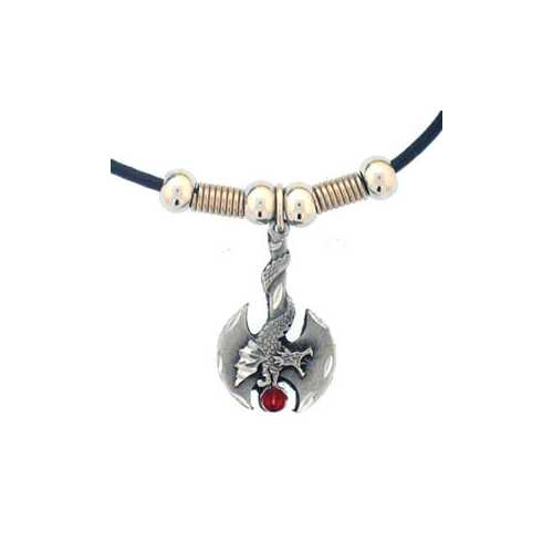 Battle Ax with Dragon Adjustable Cord Necklace