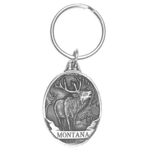 Montana Elk Antiqued Keyring