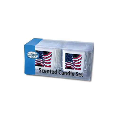 American Flag Sq 2pk Candle