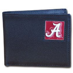 Alabama Crimson Tide Leather Bi-fold Wallet Packaged in Gift Box