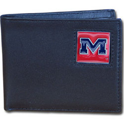 Mississippi Rebels Leather Bi-fold Wallet Packaged in Gift Box