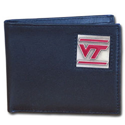 Virginia Tech Hokies Leather Bi-fold Wallet Packaged in Gift Box