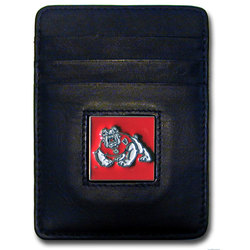 Fresno St. Bulldogs Leather Money Clip/Cardholder Packaged in Gift Box