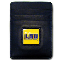 LSU Tigers Leather Money Clip/Cardholder Packaged in Gift Box