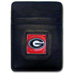 Georgia Bulldogs Leather Money Clip/Cardholder Packaged in Gift Box