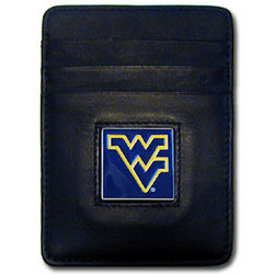W. Virginia Mountaineers Leather Money Clip/Cardholder Packaged in Gift Box